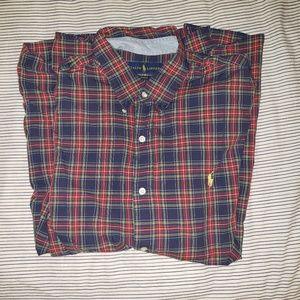 Ralph Lauren Blue Red Plad Button Down Shirt XL